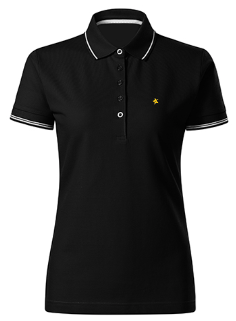 women polo shirt black