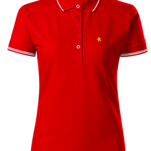 women polo shirt red